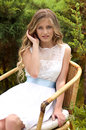 Beautiful girl in green garden Stock Image