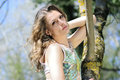 Beautiful girl in green wood by summer one Royalty Free Stock Photography