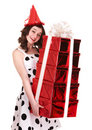 Beautiful girl with group of gift box. Royalty Free Stock Photo