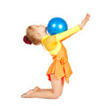 Beautiful girl gymnast with a ball isolated on white Stock Image