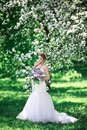 Beautiful girl hands with a branch of a blossoming apple tree. Young beautiful blonde woman in blooming garden. Royalty Free Stock Photo