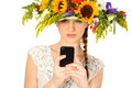 Beautiful girl with hat of flowers Royalty Free Stock Image