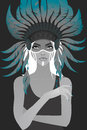 Beautiful girl in a headdress of feathers vector illustration Royalty Free Stock Photography