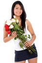 Beautiful girl holding flowers Stock Photography