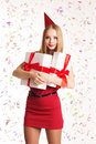 Beautiful girl holding gift boxes, happy Birthday Royalty Free Stock Photo