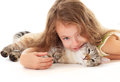 Beautiful girl hugging her cat. Stock Photo