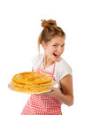 Beautiful girl isolted pancakes white Royaltyfri Bild