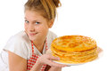 Beautiful girl isolted pancakes white Royaltyfri Foto