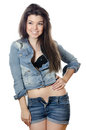 The beautiful girl in jeans Jacket Royalty Free Stock Images
