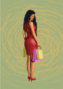 Beautiful girl lady sexy hot woman in red dress from shopping wi Royalty Free Stock Photo