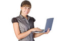 Beautiful girl with laptop Royalty Free Stock Photo