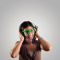 Beautiful girl listen to music Royalty Free Stock Photo