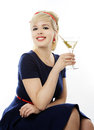 Beautiful girl with martini Royalty Free Stock Photo