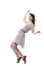 Beautiful girl in motion isolated on white backround Royalty Free Stock Photography