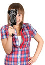 Beautiful girl with movie camera Stock Photos