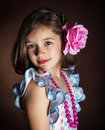 Beautiful girl in national dress dancing flamenco Stock Photo