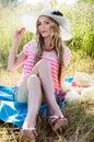 Beautiful girl in the nature sunbathing Royalty Free Stock Photo