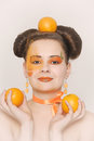 Beautiful girl with oranges Royalty Free Stock Photo