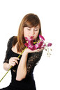 Beautiful girl and orchid Royalty Free Stock Images