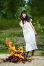 Beautiful girl outdoor photo of a ancient slav feast of ivana kupala Stock Photography