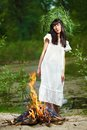 Beautiful girl outdoor photo of a ancient slav feast of ivana kupala Royalty Free Stock Photos