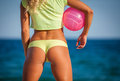 Beautiful girl outdoor in volleyball game Royalty Free Stock Photo