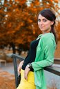 Beautiful girl in a park autumn Stock Photo