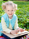 Beautiful girl in the park sweet drawing pencil Royalty Free Stock Photos