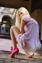 Beautiful girl in pink shoes Stock Photography