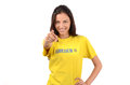 Beautiful girl pointing in front to you attractive with sweden flag on her yellow t shirt isolated on white Royalty Free Stock Image