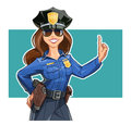 Beautiful girl police-officer in uniform Royalty Free Stock Photo