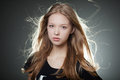 Beautiful girl portrait with windy hair Royalty Free Stock Photo