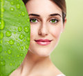 Beautiful girl portrait young close up skin care Stock Photography