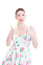 Beautiful girl posing and showing like gesture with both hands Royalty Free Stock Photo