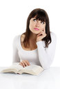 Beautiful girl reading a book on white backround Stock Images