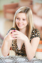Beautiful girl reads sms Royalty Free Stock Images
