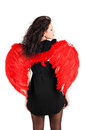 Beautiful girl with red angel wings isolated Stock Images