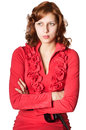 Beautiful girl red dress front him looking displeasure white background isolated Stock Photos