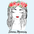 Beautiful girl with red flower wreath in long hair. Hand drawn illustration, t-shirt print Royalty Free Stock Photo