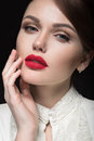 Beautiful girl with red lips in white clothes in the form of retro. Beauty face. Royalty Free Stock Photo
