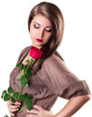 Beautiful girl with red rose Royalty Free Stock Photos