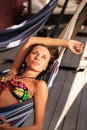 Beautiful girl relaxing outdoor Royalty Free Stock Photo
