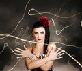Beautiful girl in retro fashion style abstract photo of a evening glamour Royalty Free Stock Image