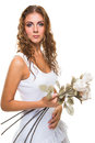 Beautiful girl with roses on isolated white young long curly hair holding background Royalty Free Stock Photos