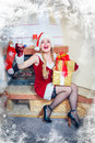 Beautiful girl in Santa Claus hat Stock Images