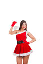 Beautiful girl in santa costume with christmas decor studio Stock Photos