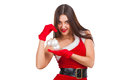 Beautiful girl in santa costume with christmas decor studio Stock Image