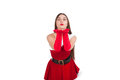 Beautiful girl in santa costume posing studio Royalty Free Stock Photos
