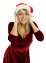 Beautiful girl in santa hat on white background Stock Images