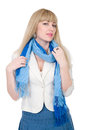 Beautiful girl with a scarf looks directly Stock Image